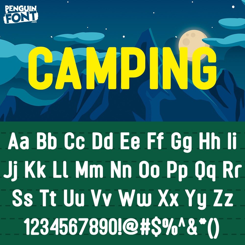 penguin font Camping